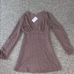 *NEW* Free People long sleeve A- line mini dress